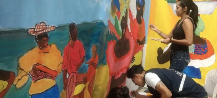 Mural interactivo fue la sensación en el Quilombo del Festival Petronio Álvarez